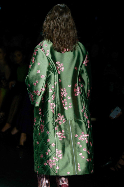 Monique Lhuillier at New York Fall 2016 (Details) [clothing,green,outerwear,fashion,coat,sleeve,hood,dress,trench coat,parka,outerwear,dress,green,monique lhuillier,fashion,model,clothing,trench coat,hood,new york fashion week,fashion,green,model]