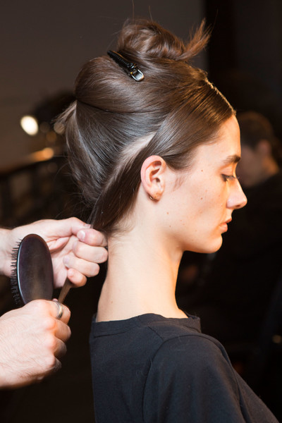 Narciso Rodriguez at New York Spring 2017 (Backstage) [hair,hairstyle,beauty,fashion,chignon,bun,long hair,ear,haute couture,hair coloring,narciso rodriguez,hair,hair,bun,beauty,chignon,hair care,buro beauty,ear,new york fashion week,hair,bun,beauty parlour,buro beauty,ponytail,long hair,hair,hair care,chignon,beauty]
