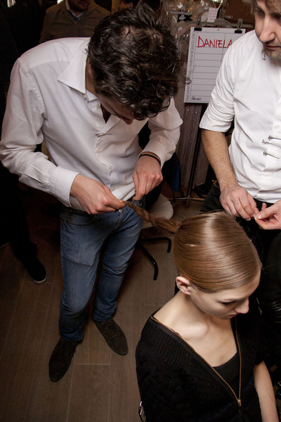 Paola Frani at Milan Fall 2011 (Backstage)