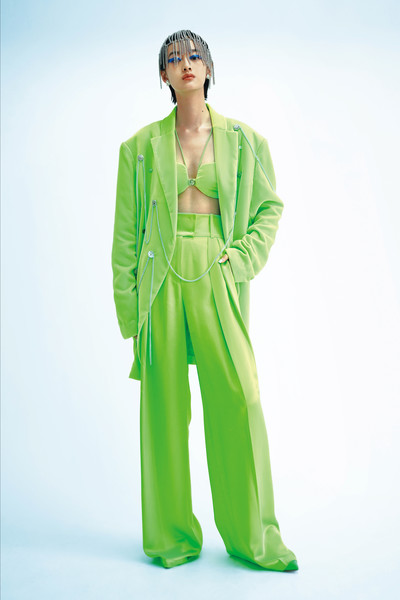 Ricostru at Milan Spring 2021 [green,clothing,standing,outerwear,pajamas,sleeve,costume,nightwear,outerwear,ricostru,ricostru,clothing,fashion week,manchit au,standing,milan,milan fashion week,fashion show,rico manchit au,milan fashion week,ricostru - milan fashion week 2017,ricostru - milan fashion week 2016,fashion show,fashion week,ready-to-wear,fashion,milan,clothing]