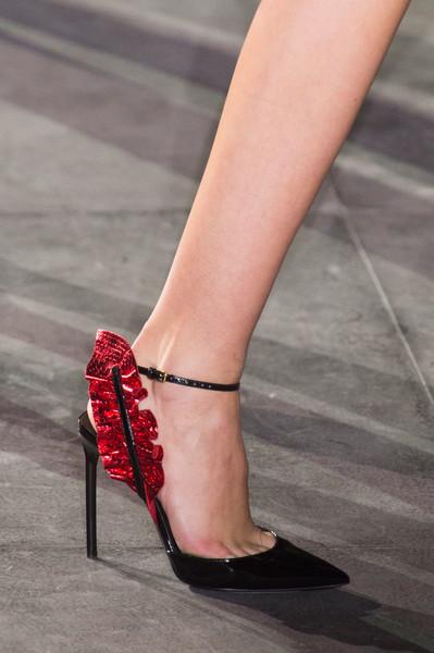 Saint Laurent at Paris Spring 2017 (Details) [footwear,leg,human leg,high heels,red,sandal,foot,ankle,fashion,shoe,shoe,shoe,spring,toe,runway,high heels,red,sandal,saint laurent,paris fashion week,shoe,yves saint laurent,spring,high-heeled shoe,roland mouret,toe,paris,runway,sandal]