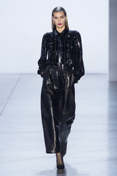 Sally LaPointe at New York Fall 2019 [fashion show,fashion model,runway,fashion,clothing,leather,public event,outerwear,human,haute couture,trousers,sally lapointe,fashion,runway,haute couture,fashion week,model,clothing,new york fashion week,fashion show,runway,fashion,fashion show,trousers,fashion week,autumn,haute couture,model,blouse,\u043e\u0441\u0435\u043d\u044c - \u0437\u0438\u043c\u0430]