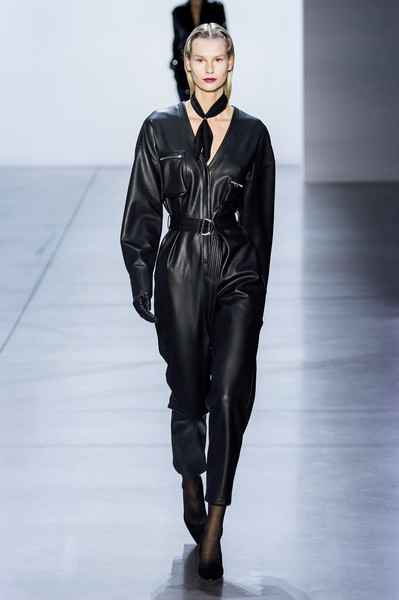 Sally LaPointe at New York Fall 2019 [fashion model,runway,fashion,fashion show,clothing,fashion design,human,outerwear,haute couture,leather,trousers,fashion,runway,clothing,leather,fashion week,jumpsuit,belt,new york fashion week,fashion show,runway,fashion,fashion show,fashion week,trousers,clothing,jumpsuit,leather,belt,ready-to-wear]