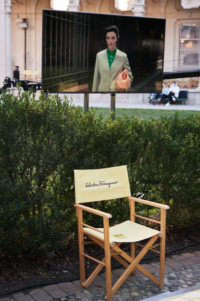 Salvatore Ferragamo at Milan Spring 2021 (Backstage) [furniture,chair,sitting,grass,table,plant,photography,bench,furniture,m,salvatore ferragamo,chair,tree,table,grass,paris,salvatore ferragamo s.p.a.,milan fashion week,paris,salvatore ferragamo s.p.a.,chair m,tree / m,ready-to-wear,house,fashion show,sitting,table,spring]