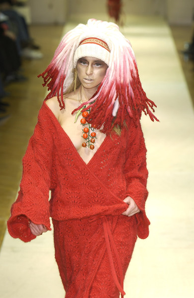 Seredin & Vasiliev at Paris Fall 2003 [clothing,fashion,red,cosplay,costume,pink,hair coloring,fashion design,wig,flesh,fashion,cosplay,color,hair,human hair color,model,clothing,seredin vasiliev,hair coloring,paris fashion week,human hair color,cosplay,model,color,hair,fashion]