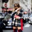 Plaid Blazer and Thigh-High Boots