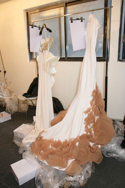 Stéphane Rolland at Couture Spring 2015 (Backstage) [couture spring 2015,gown,dress,wedding dress,clothing,white,bridal clothing,bridal accessory,fashion,bridal party dress,ivory,gown,dress,bride,stephane rolland,wedding dress,ivory,pence,wedding,wedding_m,wedding dress,bride,wedding,veil,gown,ivory,two pence,wedding_m]