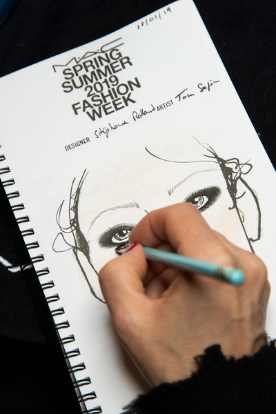 Stéphane Rolland at Couture Spring 2019 (Backstage) [couture spring 2019,art,drawing,text,text,illustration,nose,drawing,font,design,sketch,hand,art,eyelash,designer,stephane rolland,design,wallet,illustration,nose,design,lonny,drawing,wallet,designer,art]
