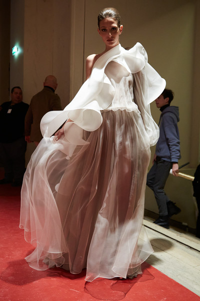 Stéphane Rolland at Couture Spring 2020 (Backstage) [fashion,dress,clothing,gown,haute couture,fashion design,fashion model,event,performance art,fashion show,gown,dress,stephane rolland,fashion,haute couture,model,wedding dress,runway,couture spring 2020,fashion show,fashion show,haute couture,wedding dress,st\u00e9phane rolland,fashion,model,runway,supermodel,beauty,gown]