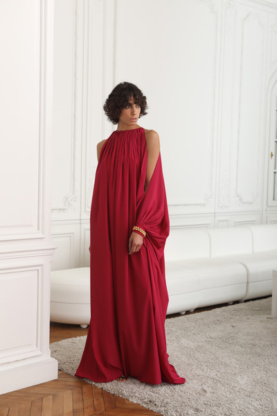 Stéphane Rolland at Paris Spring 2021 [photograph,clothing,dress,gown,shoulder,red,formal wear,magenta,maroon,robe,fashion,gown,cocktail dress,outerwear,flooring,maroon,clothing,photo shoot,haute couture,paris fashion week,gown,cocktail dress,satin,outerwear,photo shoot,haute couture,maroon,clothing,flooring,photograph]