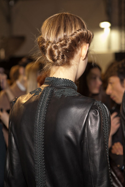 Valentino at Paris Fall 2012 (Backstage) [hair,hairstyle,fashion,beauty,leather,shoulder,fashion model,leather jacket,blond,chignon,valentino,hair,hairstyle,fashion,head hair,hair,bob cut,face,hair twists,paris fashion week,hairstyle,head hair,braid,hair,fashion,bob cut,face,long hair,hair twists]