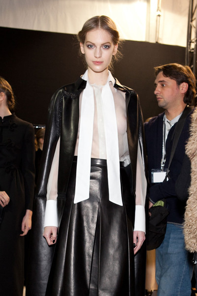 Valentino at Paris Fall 2012 (Backstage) [clothing,fashion,fashion model,leather,hairstyle,fashion show,outerwear,haute couture,event,textile,supermodel,socialite,valentino,fashion,haute couture,runway,model,clothing,paris fashion week,fashion show,runway,fashion show,model,fashion,haute couture,supermodel,blazer,socialite,tuxedo,tuxedo m.]