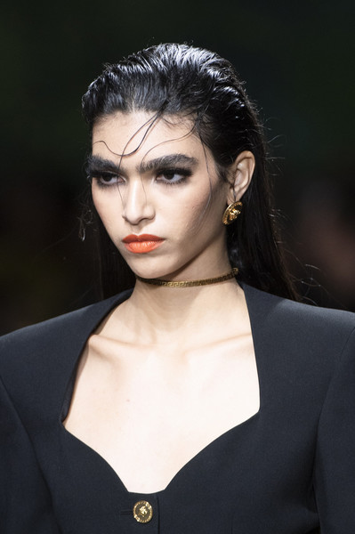 Versace at Milan Spring 2020 (Details) [hair,face,eyebrow,fashion,hairstyle,lip,beauty,fashion model,black hair,head,donatella versace,fashion,fashion week,model,haute couture,runway,hairstyle,lip,versace,milan fashion week,donatella versace,milan fashion week,fashion,runway,versace,haute couture,model,fashion week,ready-to-wear]