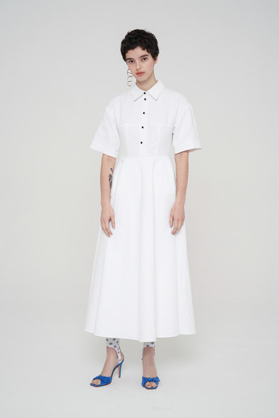 Wos at Paris Spring 2021 [white,clothing,sleeve,dress,collar,uniform,fashion,neck,formal wear,beige,dress,collar,fashion,fashion week,spring,model,uniform,wos,paris fashion week,fashion show,paris fashion week,ready-to-wear,2021,fashion,fashion week,fashion show,spring,model,autumn,2020]