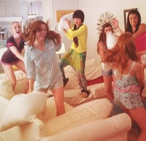 Have Pillow Fights With Their Girlfriends At Sleepovers