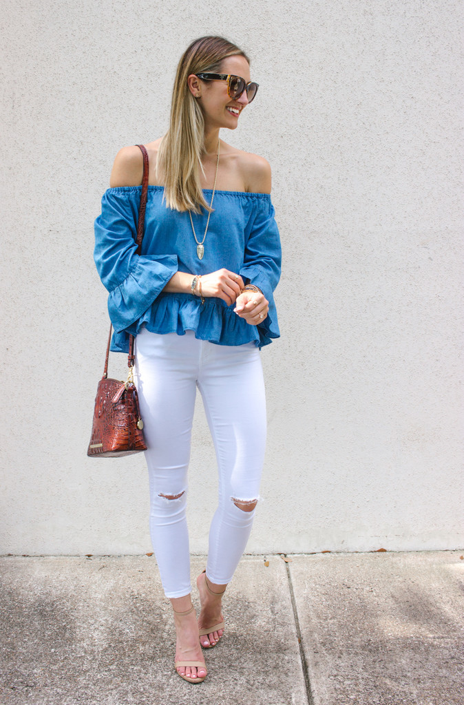 offtheshoulder chambray white jean outfit ideas