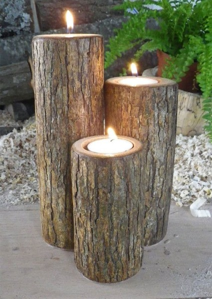 Rustic Wood Candle Idea