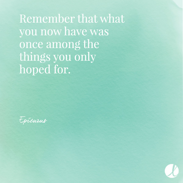 Remember that what you now have was once among the things you only hoped for. - Epicurus