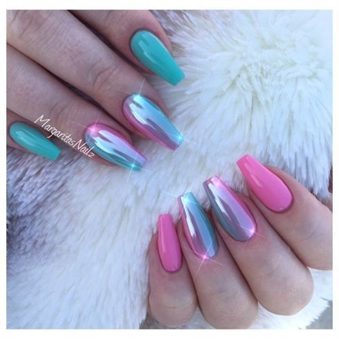 Unicorn Chrome Nails