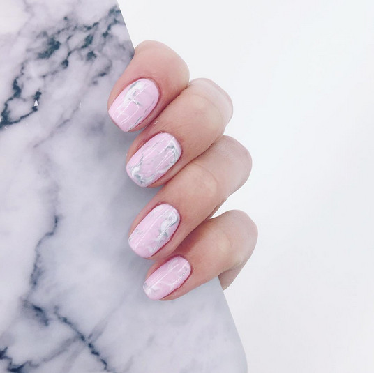 Pisces Baby Pink Marble , Horoscope Nail Art Ideas Perfect