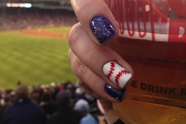 Here Are 10 Cute Baseball Nail Art Ideas - Nails - Livingly - Happy Opening Day! Here Are 10 Cute Baseball Nail Art Ideas