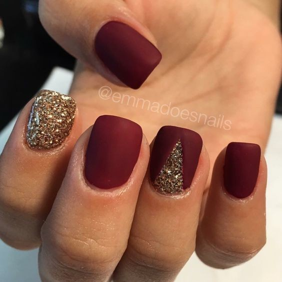 Matte Red and Gold Sparkle