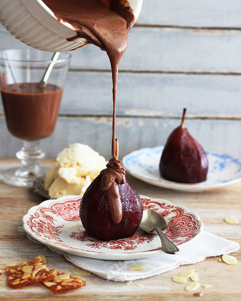 Spiced Red Wine Pears (With Coffee-Chocolate Sauce)