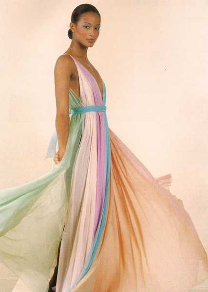 Pastel Pleats on Beverly Johnson