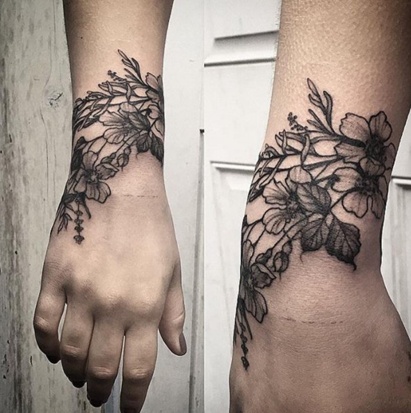Wrist Cuff Tattoo Designs: Stunning Floral Tattoos That Are Beautifully