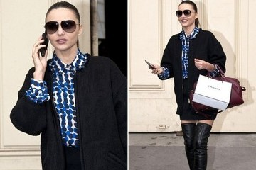 Why It Works: Miranda Kerr in Polka Dots and Knee-High Boots