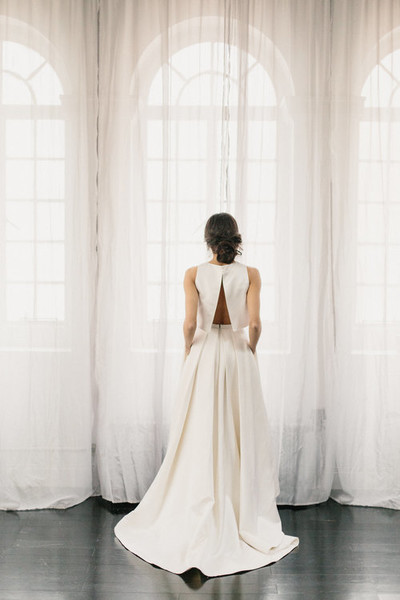 Elegant 2 Piece Wedding Dresses : Split back modern and elegant two piece wedding dresses
