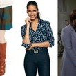Mindy Kaling's Plaid Pleated Skirt, Navy Heart-Print Button-Down and Blue Vintage Tote on 'The Mindy Project'