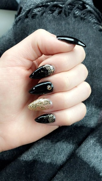 Black + Gold Stiletto