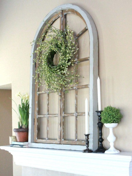 DIY Arched Windowpane and Wreath