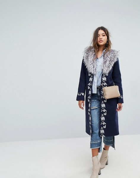 Embroidered Wrap Coat
