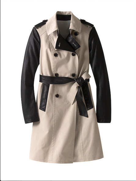 Leather-Trimmed Trench