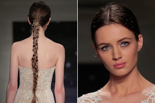 Adorned braids and pink gloss at Reem Acra
