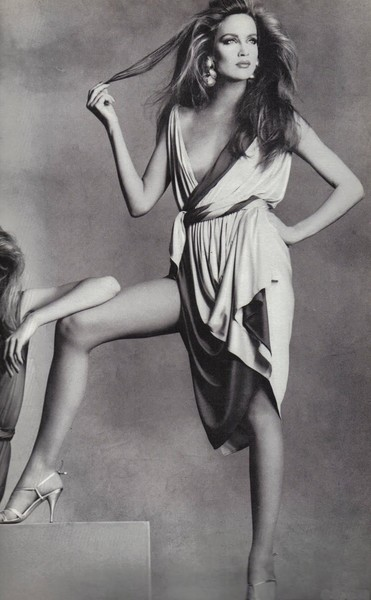 Jerry Hall in a Halston Wrap Dress