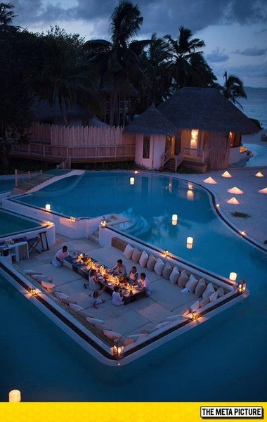 Eat dinner in the middle of the pool