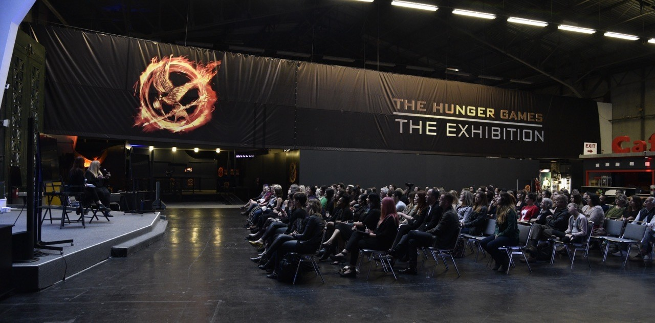 Ve speaking at the Hunger Games exhibit and MAC makeup demonstration at the Palace of Fine Arts in San Francisco.