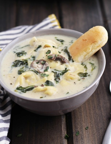 Try creamy tortellini spinach and mushroom soup