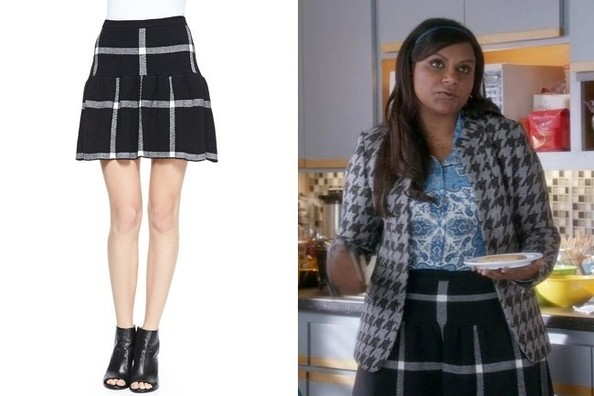 Mindy Kaling's Black-and-White Checkered Skirt on 'The Mindy Project'