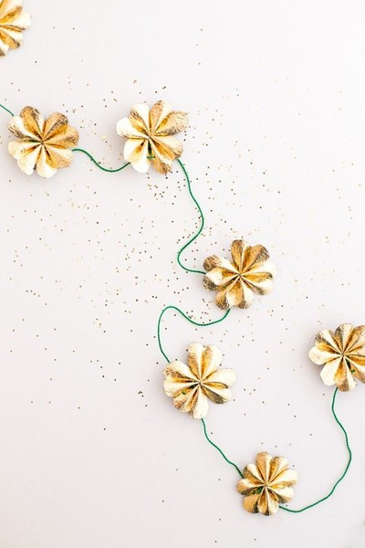 Gold Leather Four Leaf Clover Garland