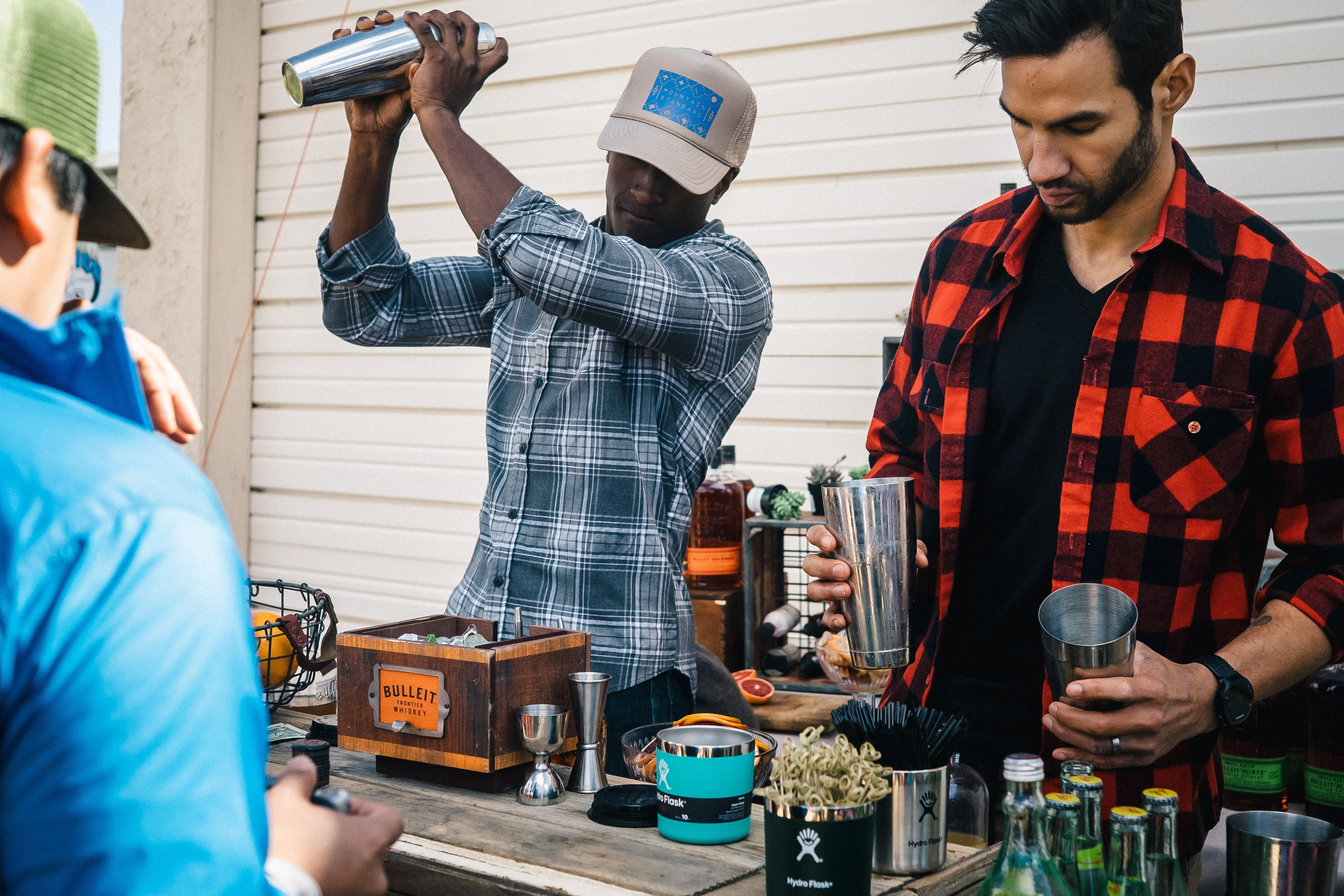 Bulleit Whiskey served in Hydroflask tumblers.