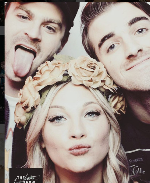 Liz with Andrew Taggart and Alex Pall of The Chainsmokers