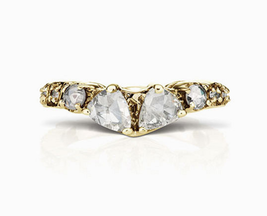 Rustic Gold and Diamond V-Shaped Band