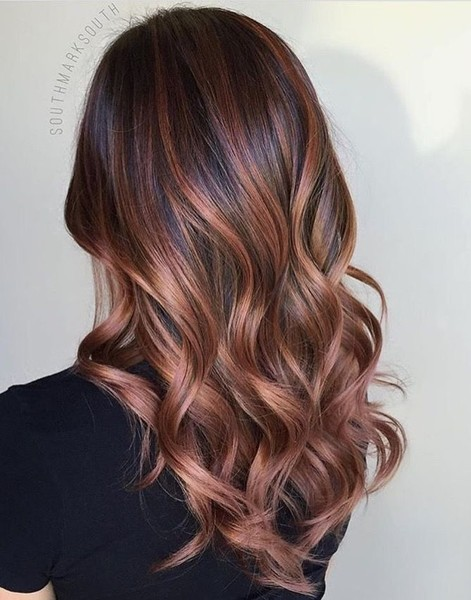 20 Gorgeous Brown Color Hair Ideas for Winter · Brunette Rose Gold Balayage