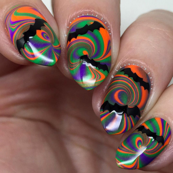 Psychedelic Bat Symbol Halloween Nails So Cool Theyll Give You