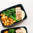 Roasted Salmon With Sweet Potatoes And Broccolini
