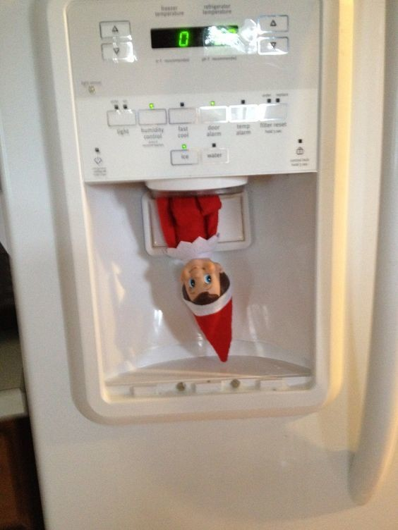 He Pops Out From The Ice Cube Dispenser Elf On The Shelf